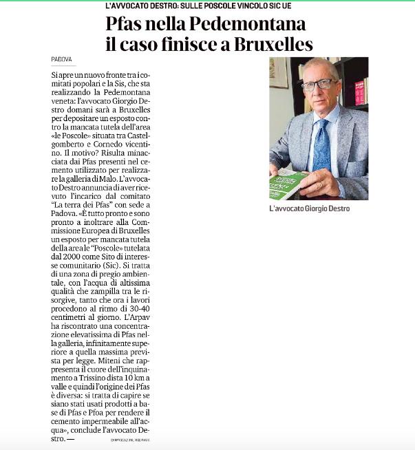 """""""Pfas nella Pedemontana, il caso finisce a Bruxelles"""""""