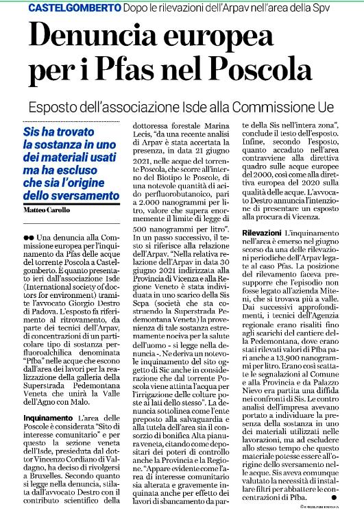 """""""Denuncia europea per i Pfas nel Poscola"""""""