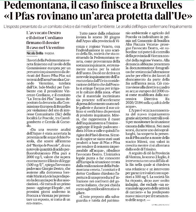 """""""Pedemontana, il caso finisce a Bruxelles: I Pfas rovinano un'area protetta"""""""