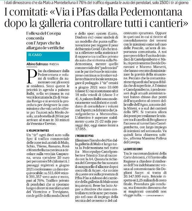 """Il Mattino di Padova: """"I comitati: 'via i Pfas della Pedemontana, dopo la galleria controllare tutti i cantieri"""""""