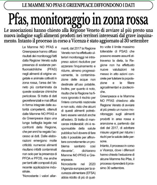 """""""Pfas, monitoraggio in zona rossa"""""""