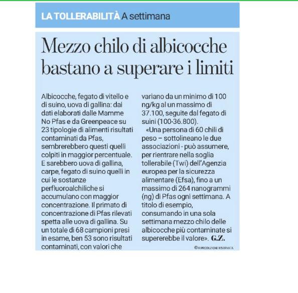 """""""Ecco i Pfas negli alimenti, le mamme alla Regione: rischi da monitorare"""""""
