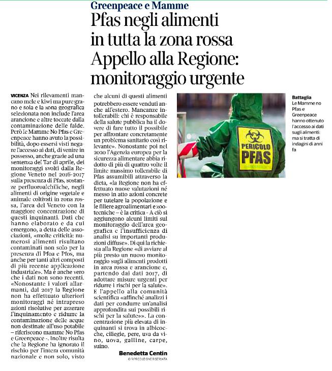 """""""Pfas negli alimenti in tutta la zona rossa, appello alla Regione: monitoraggio urgente"""""""