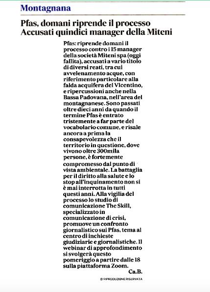"""""""Pfas, domani riprende il processo, accusati 15 manager della Miteni"""""""