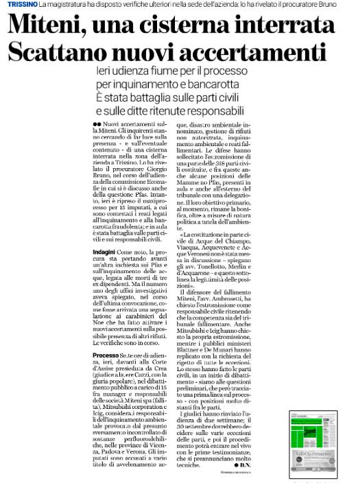 """""""Miteni, una cisterna interrata. Scattano nuovi accertamenti""""."""