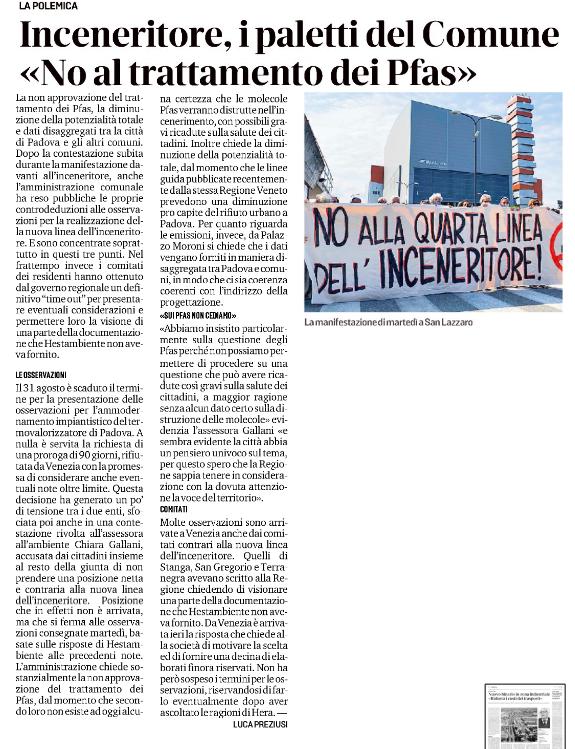 """""""Inceneritore, i paletti del Comune: no al trattamento dei Pfas"""""""