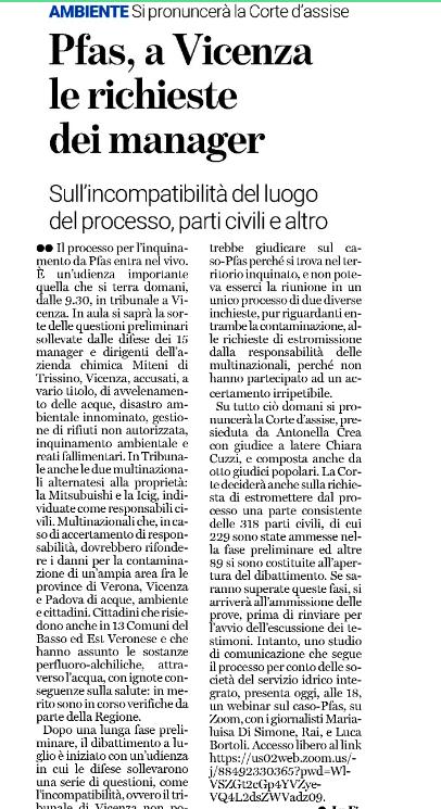 """Pfas, a Vicenza le richieste dei manager"""