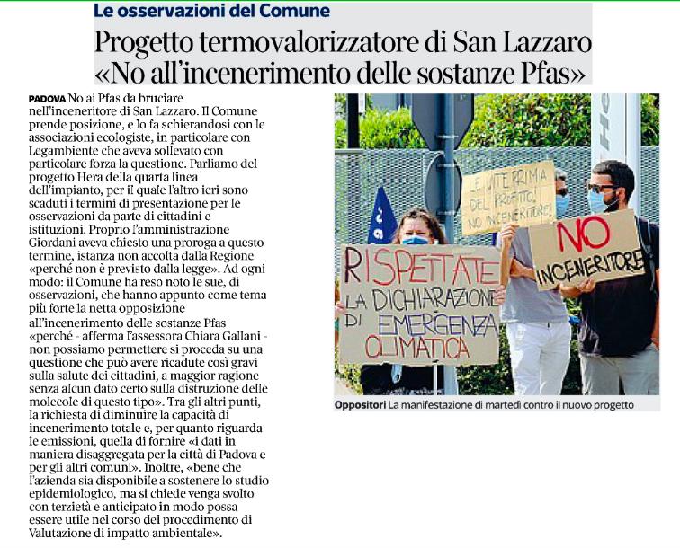 """""""Progetto termovalirizzatore di San Lazzaro: no all'incenerimento di sostanze Pfas"""""""